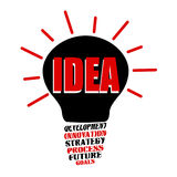 Idea bulb with base of development Stock Photo