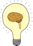 Idea Bulb with Brain Stock Images