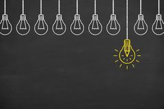 Idea bulb in bubble on chalkboard background Royalty Free Stock Images