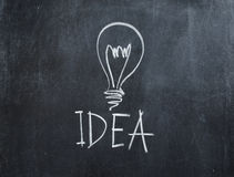 Idea bulb on chalkboard Royalty Free Stock Images