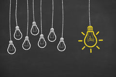 Idea Bulb Concepts Drawing Work on Blackboard Royalty Free Stock Photography