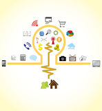 Idea bulb connecting to social network. Illustration of idea bulb connecting to social network stock illustration