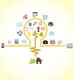 Idea bulb connecting to social network Stock Photos