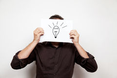 Idea bulb face Royalty Free Stock Photo