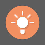 Idea bulb flat icon. Round colorful button, circular vector sign with shadow effect. Flat style design Stock Image