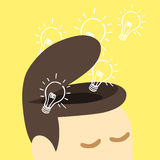 Idea bulb fly out of  human head. Royalty Free Stock Photos
