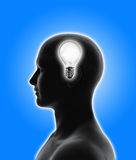 Idea bulb inside a head Royalty Free Stock Image