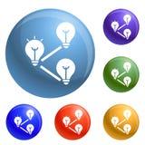 Idea bulb interaction icons set vector royalty free illustration