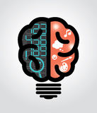 Idea bulb left brain right brain Stock Photography