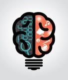 Idea bulb left brain right brain. Illustration stock illustration