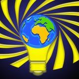 Idea bulb. Light bulb with world globe Royalty Free Stock Photography
