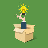 Idea bulb out of box Stock Photos