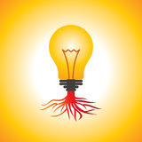 Idea bulb with root Stock Photos