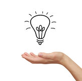 Idea bulb in woman hand holding Royalty Free Stock Photography