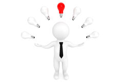 Idea bulbs around 3d person. On a white background Stock Photography