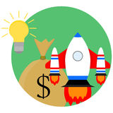 Idea of a business start-up. Development and strategy, sack of money and spaceship start up. Vector illustration Royalty Free Stock Photo