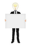 the idea in business suit holding a blank banner Royalty Free Stock Photo