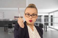 Idea. Business woman has an idea Royalty Free Stock Photography