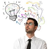 Idea. Businessman thinking about a new brilliant idea Stock Images