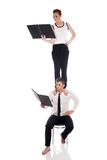 Idea of busyness - business partners with folders Royalty Free Stock Photo