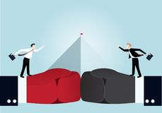 Businessman fighting with pyramid chart on background. Idea cartoon business war concept,the businessman is fighting with red flag on the top of pyramid chart on Royalty Free Stock Images