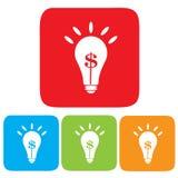 Idea che fa soldi, lampadina con il simbolo del dollaro Fotografia Stock