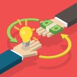 Idea che vende con concetto dei soldi Fotografia Stock Libera da Diritti