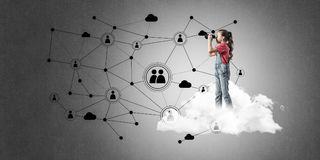 Idea of children Internet communication or online playing and pa Stock Photography