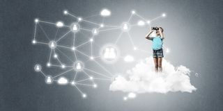Idea of children Internet communication or online playing and pa Royalty Free Stock Images
