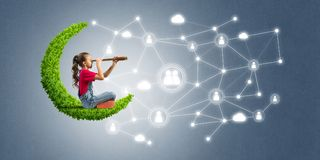 Idea of children Internet communication or online playing and parent control Stock Images