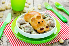 Idea for the children's dinner - bun in the form of hippo with p Stock Photo