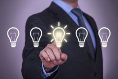 Idea choose. Working with virtual screen growth Royalty Free Stock Photography