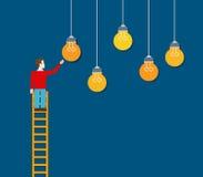 Idea choosing man ladder touching lamp business vector flat Royalty Free Stock Photography