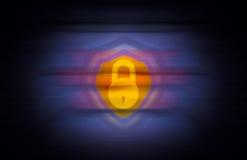 Idea cibernética de la protección de la encripción del ataque con el escudo del candado stock de ilustración