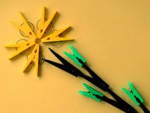 The idea for the clothespins. Creative mind Royalty Free Stock Image