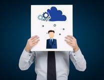 Idea cloud. Businessman holding placard with idea cloud Royalty Free Stock Photo
