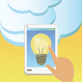 Idea in the cloud in a mobile phone Royalty Free Stock Image