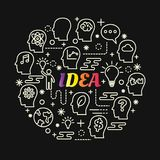 Idea colorful gradient with line icons set Stock Images