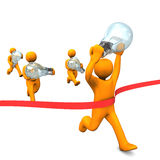 Idea Competition. Orange cartoon characters runs with big bulbs. White background Royalty Free Stock Image