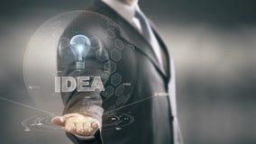 Idea con concepto del hombre de negocios del holograma del bulbo metrajes