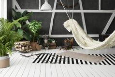 Idea con l'amaca, stile scandinavo di interior design della soffitta di boho Immagine Stock
