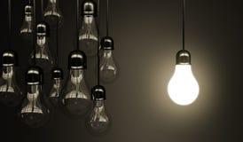 Idea concept. With light bulbs Stock Photography