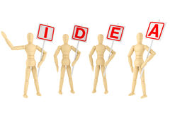 Idea Concept. Wooden mannequin with Idea Banner on a white background Stock Photo
