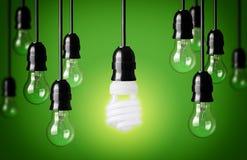 Idea concept. Energy saving and simple light bulbs.Green background stock photos