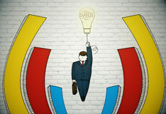 Idea concept. Abstract sketch on flying businessman with light bulb balloon and briefcase in hands on brick background with business chart bars. Idea concept Stock Images