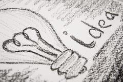 Idea concept - bulb drawn with pencil Stock Photo