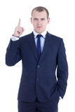 Idea concept - business man pointing up isolated on white Stock Photography