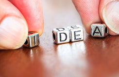 Idea concept business marketing letters placed on a desk in prec Stock Photography