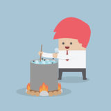 Idea concept, Businessman is cooking the idea Stock Photos