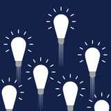 Idea concept. Creative light bulbs idea concept on navy background Stock Illustration